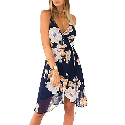 Womens Open A Summer V Back Navy Boho Print Floral Blue Mini Neck Dress Strap Sexy line Sleeveless Deep Dress Vintage rwqrRXz