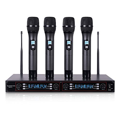 Sound Town 200-Channel Rack Mountable Professional UHF Wireless Microphone System with Metal Receiver and 4 Handheld Mics (NESO-U4HH) ()
