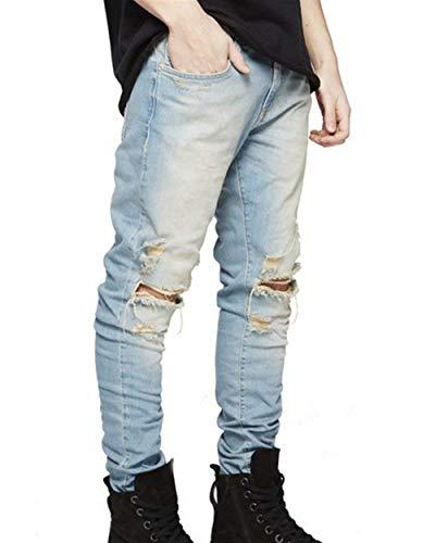 Retrò Fit Especial Estilo Pantaloni Slim Moda Uomo Alsbild Strappati Denim Libero Tempo Skinny Da Jeans aqvSqwE