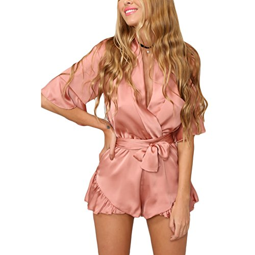Women Sexy Loose V Neck Flounce Half Sleeve Tie Up Jumpsuit Romper Shorts (L, Pink)