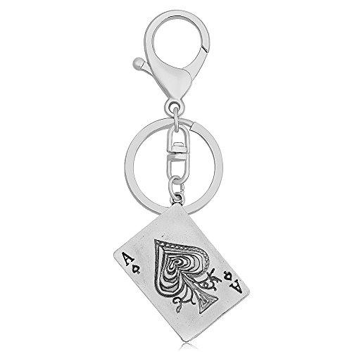 CHUANGYUN Retro Style Punk Rock Playing Card Poker Tag Keychain (Ancient Silver 2)