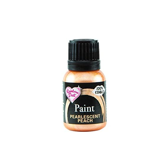 Rainbow Dust Edible Food Paint METALLIC PEARLESCENT PEACH For Cake Decorating 1 Rainbow Dust Metallic PEARLESCENT PEACH 100% Edible Food Paint - 25mlA radiant paint that brings a stunning metallic pearlescent shine to all your edible c