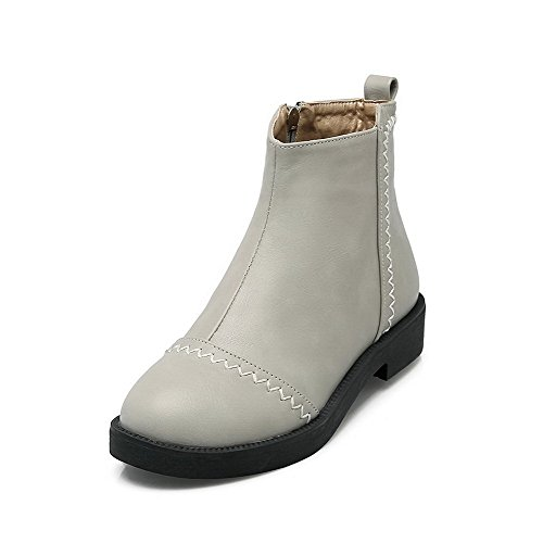 AllhqFashion Womens PU Low-Top Solid Zipper Low-Heels Boots Gray Jad1IZs