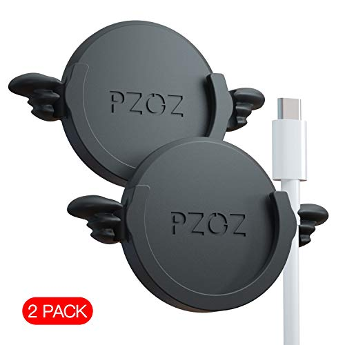 pzoz Phone Car Mount Compatible for Collapsible Grip Socket, 2 Pack Adhesive Silicone Stand for Mount Charging Cable Holder Wire Clip Cord Organizer for Car, Office, Kitchen, Wall (Black)