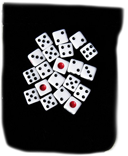 Custom & Unique {Small 8mm} 20 Ct Pack Set of 6 Sided [D6] Square Cube Shape Playing & Game Dice w/ Simple Plain Classy Board Game Design [White & Black] w/ Dice Bag by mySimple Products