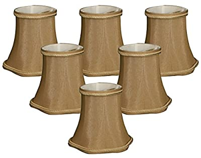 "Royal Designs 5"" Decorative Trim Scallop Bell Chandelier Lamp Shade, Antique Gold, Set of 6, 3 x 5 x 4.5 (CS-703AGL-6)"