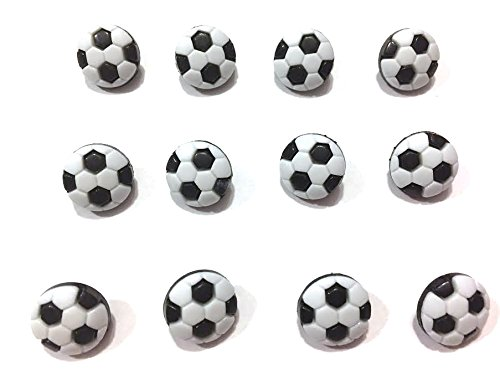 (Mini Soccer Balls Buttons .50 Inches Set of 12 Shank Back)