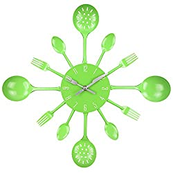 Wall Clock, Timelike 16 Metal Kitchen Cutlery Utensil Spoon Fork Wall Clock Creative Modern Home Decor Antique Style Wall Watch (Green)