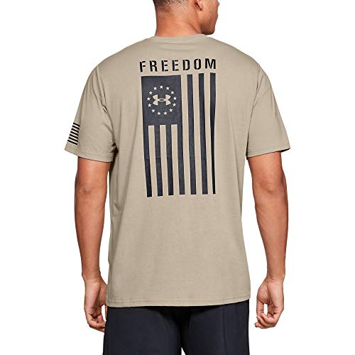 Under Armour Freedom Flag T-Shirt, Desert Sand//Black, Large (Mens Under Armour Graphic Tees)