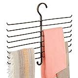 mDesign Metal Closet Rod Hanging Accessory Storage Organizer Rack for Scarves, Ties, Yoga Pants, Leggings, Tank Tops - Snag Free, Geometric Design, 16 Arms/1 Hook - Bronze