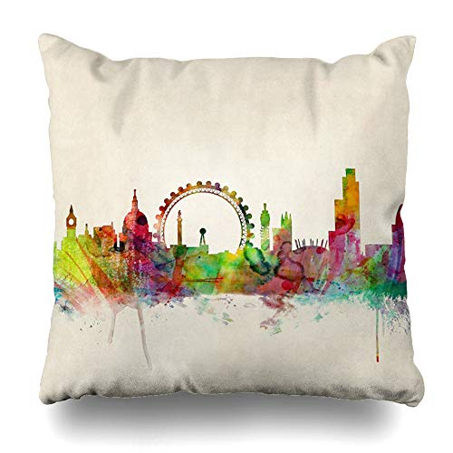Ahawoso Throw Pillow Cover Square 20x20 Inches London Skyline Decorative Pillow Case Home Decor Pillowcase (Go Placidly Against The Noise And Haste)