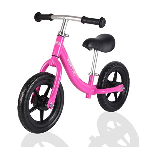 kingberry 12″ Aluminum Balance Bike, Lightweight No Pedal Training Bicycle, Push Bike for 3-6 Years Old