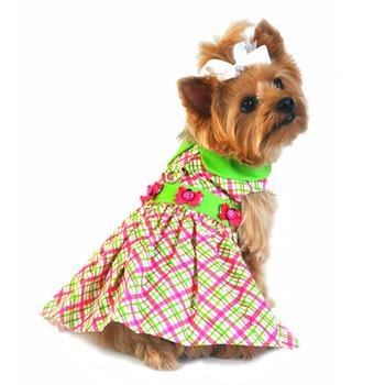 Doggie Design Bright Plaid Lady Bug Party Harness Dress in Size Small