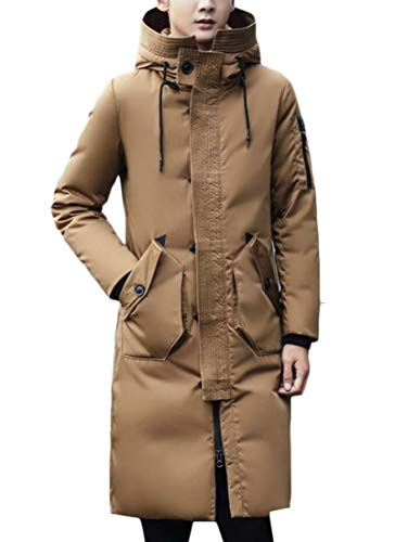 1 Winter Thick Quilted Warm Fit Jacket EKU Padded Slim Men's Hooded Down Long ZxWqqw7fS5