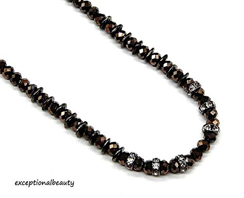 (Bronze Iris Glass OMG Blings Beaded Faceted Beads Brown Tassels Long Necklace)