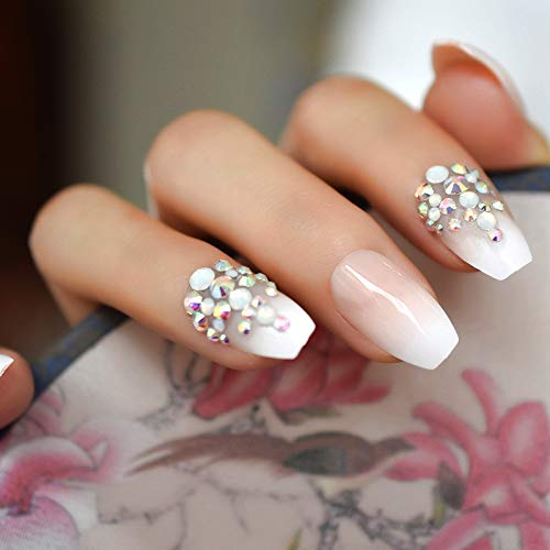 Amazon.com : 3D Pink Nude French Ballerina Coffin False Fake Nails Gradient Natural Press On Daily Office Finger Wear UV Nails Z872 : Beauty