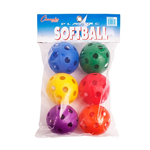 Plastic Training Softballs (Champion Sports Plastic Softball Set, 6 Assorted Colors)