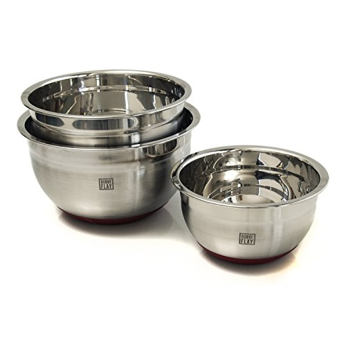 Bobby Flay 3 Piece Stainless Steel Mixing Bowl with Red Non-skid Base Set (Set Bobby Flay)