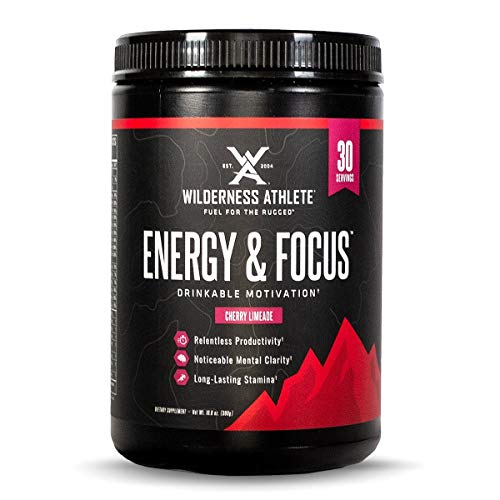 Wilderness Athlete: Energy & Focus, Powder Energy Drink Mix, Cherry Limeade, 30 Serving Tub, Low-Carb, Zero Sugar, No Crash, Natural Caffeine from Green Coffee Bean