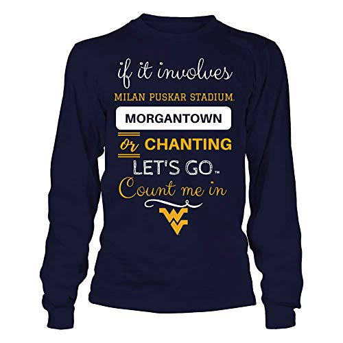 FanPrint Official Sports Apparel Unisex Long Sleeve Cotton T-Shirt West Virginia Mountaineers If It Involves Milan Puskar Stadium, Size XL, Navy