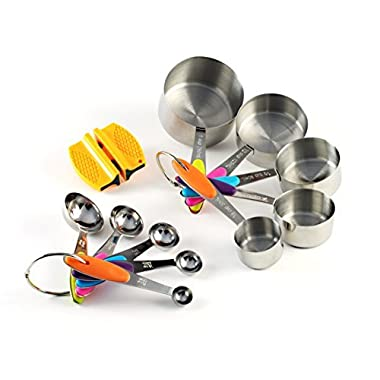 Measuring Cups and Spoons Stainless Steel Stackable Set, 10 Pieces with Bonus 2-Step Knife Sharpener and 75 Recipe eBook. Use Professional Cookware to Measure Food Properly in your Kitchen.