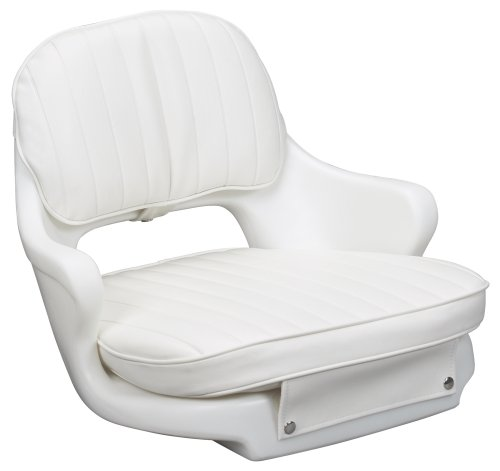 Moeller Heavy Duty Standard Boat Helm Seat, Cushion, and Mounting Plate Set (18.50-Inches L x 17.50-Inches W x 13.50-Inches H, White) primary