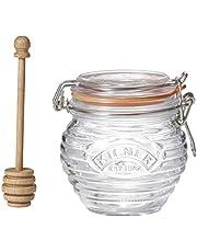 Kilner KLN20205 Honey Pot w/Wood Drizzler 0.45L, 0.45L, Clear