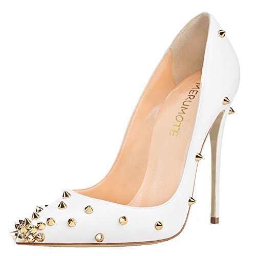 Pointy Womens Rivets Heel Matte for For White Gold With Thin Toe Heeled High Studs Pumps 12cm Rivets Party MERUMOTE Shoes Dress dqTAw4qX