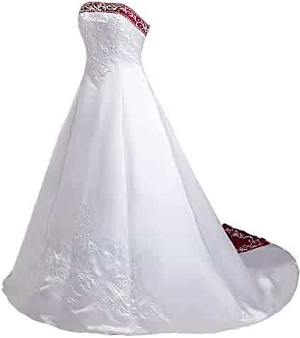 f3d7ae86fc8 Snowskite Women s A-line Strapless Satin Embroidery Beaded Wedding Bridal  Gowns