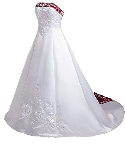 Snowskite Women's Strapless Satin Embroidery Beaded Wedding Dress Ivory&Burgundy 12