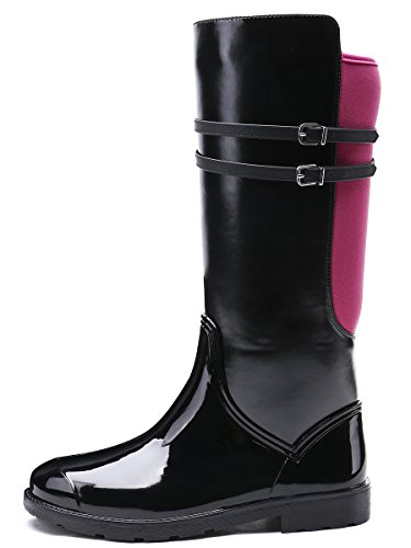 TONGPU Calf Boots Rain Women's Red Mid Zipper AAq0gxfR