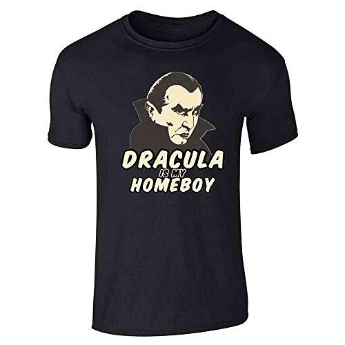 Pop Threads Dracula is My Homeboy Halloween Costume Vampire Black L Short Sleeve T-Shirt -