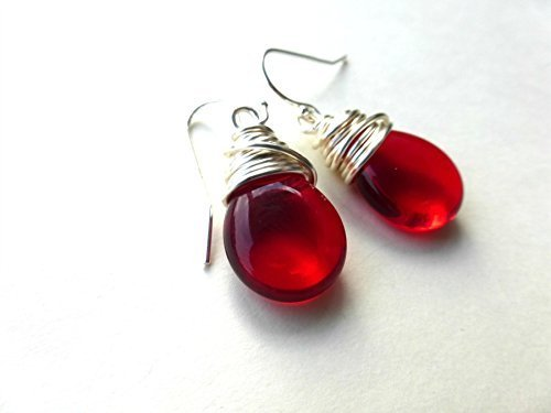 Red pear transparent teardrop Czech Picasso glass, silver wire wrapping earrings. Lightweight, simple, everyday, small earrings. Handmade jewelry, jewellery. sterling silver ear wires. -