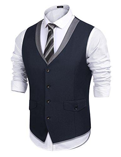 Style Dress Suit - COOFANDY Men's Casual Suit Dress Vest V Neck Slim Fit Waistcoat Vest