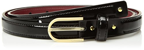 Calvin Klein Women's Skinny Patent Leather Dress Belt with Studs, Black, X-LARGE