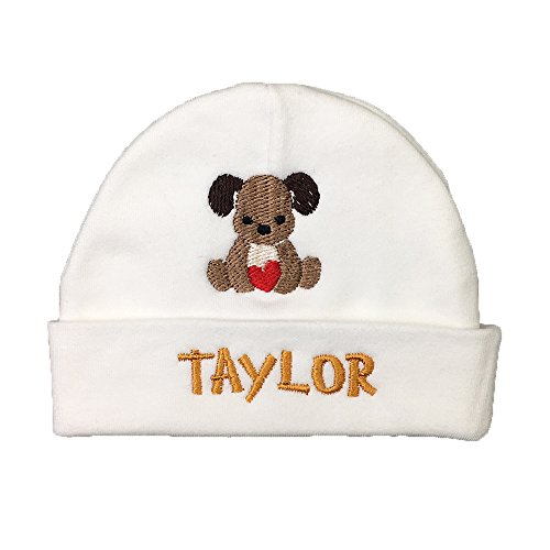 Personalized Baby hat with Embroidered Puppy, Baby boy or Baby Girl hat, Custom Preemie hat, Custom Newborn hat, Custom (0-3 Months) - Hats Monogrammed Baby