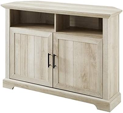 Pemberly Row 44″ Farmhouse Grooved Barn Door Corner TV Stand Console