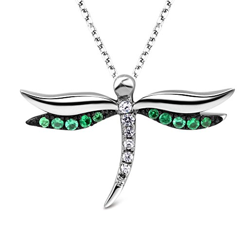 T400 925 Sterling Silver Green Cubic Zirconia Dragonfly Pendant Necklace and Clover Stud Earrings Lucky Birthday Gift for Women Girls ()
