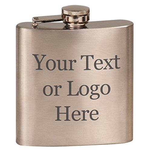 Customized 3D Laser Engraved Personalized 6 oz. Stainless Steel Custom Flask - Gifts For Him, For Her, For Boys, For Girls, For Husband, For Wife, For Them, For Men, For Women, (Steel Silver)