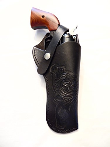 Western Gun Holster #61 - Black - Solid Leather with Embossed Design for Revolvers up to 5 Inches (Revolver Design)