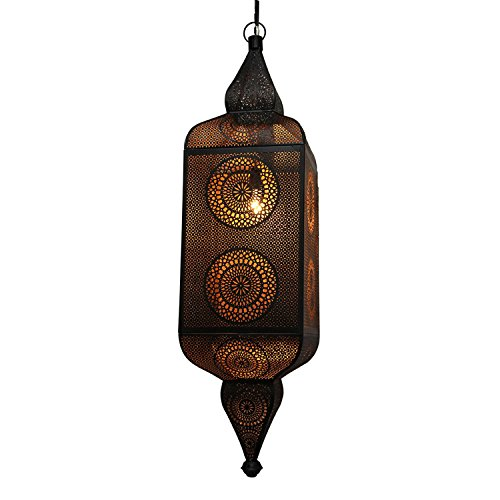 """Northlight Black and Gold Moroccan Style Cut-Out Hanging Lantern Pendant Ceiling Light Fixture, 38"""""""