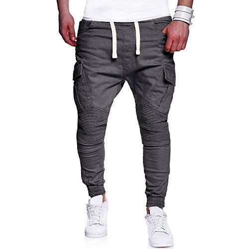 Da Coulisse Media Casual Uomo Vita Jogging In Con Pantaloni Tinta Battercake A Unita Tasche Leggings Comodo Nero q1YS5