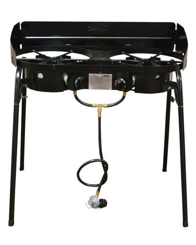 Camp Cooking Tips And Tricks - Use the right camp cooking tools like this Double Burner Camp Tailgate Stove With Mosquito Coils