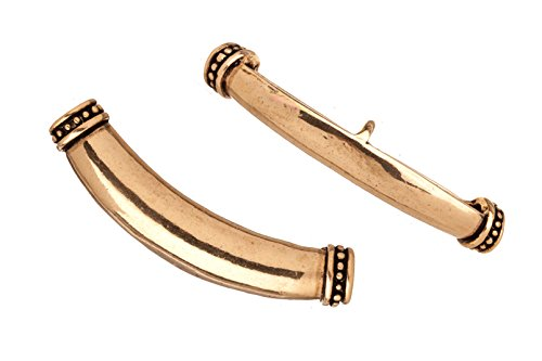 Link Gold Curves (Dotted edge antique-gold finished focal drape 5mm hole 50.5x9.3mm Sold per pack of 2pcs (2pack bundle), SAVE $1)