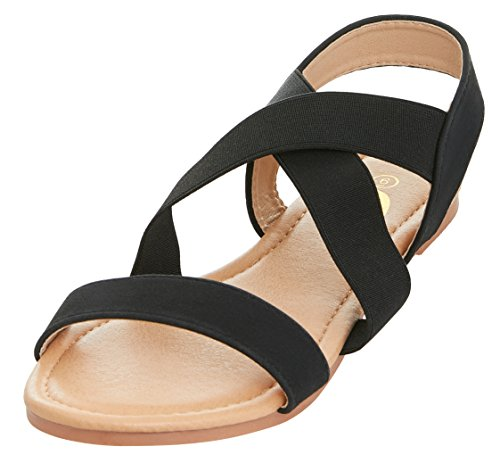 Elastic Summer Strap Sandal Floopi Cross Criss Black Slingback Flat Womens wWXnWq1SaT
