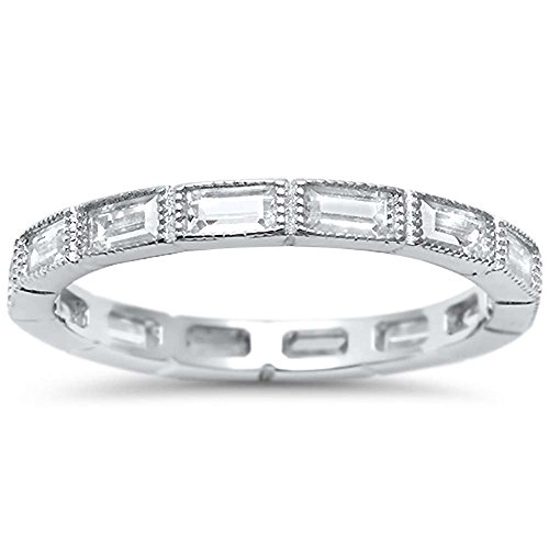 Sterling Silver Antique Style Baguette Cubic Zirconia Eternity Stackable Band Ring Sizes 5