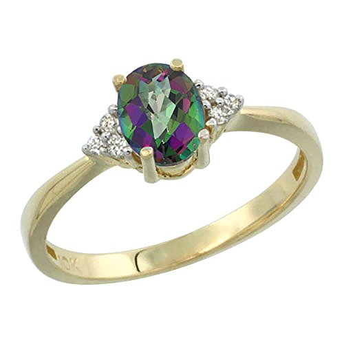 10K Yellow Gold Natural Mystic Topaz Ring Oval 7x5mm Diamond Accent, size 7 by Silver City Jewelry