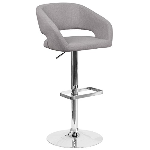 Flash Furniture Contemporary Gray Fabric Adjustable Height Barstool with Chrome Base (Contemporary Kitchen Stools)