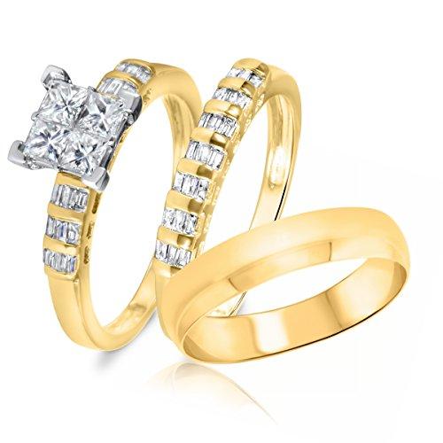 1 Ct Tw Baguette (1 Carat T.W. Princess, Baguette Cut Diamond Trio Wedding Set 10K Yellow Gold- Size)