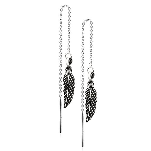 925 Sterling Silver Feather Threader Modern Long Dangle Earrings, Thin Minimalist Bar Backing, 83mm